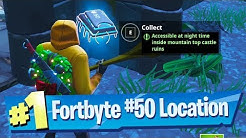 Fortnite Fortbyte #50 Location - Accessible at Night Time inside mountain top Castle Ruins