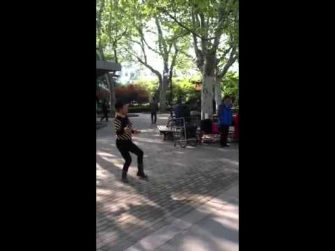 Chinese singing and dancing in Fuxing Park, Shanghai