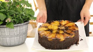 How to make Upside-down pear chocolate and ginger cakes