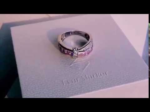 Amazing ladies platinum plated engagement wedding band promise ring