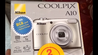 Nikon Coolpix A10 with 8GB SDcard + Camera case + Battery Charger Unboxing