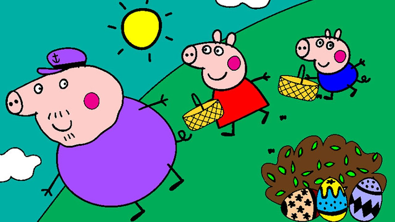 Peppa Pig Coloring Pages for Kids ► Peppa Pig Coloring Games ►Peppa and  Grandpa Easter Coloring Book
