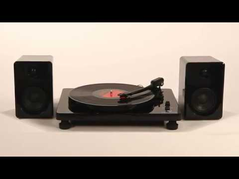 Black Victrola Modern 3 Speed Bluetooth Turntable with 50 Watt Speakers