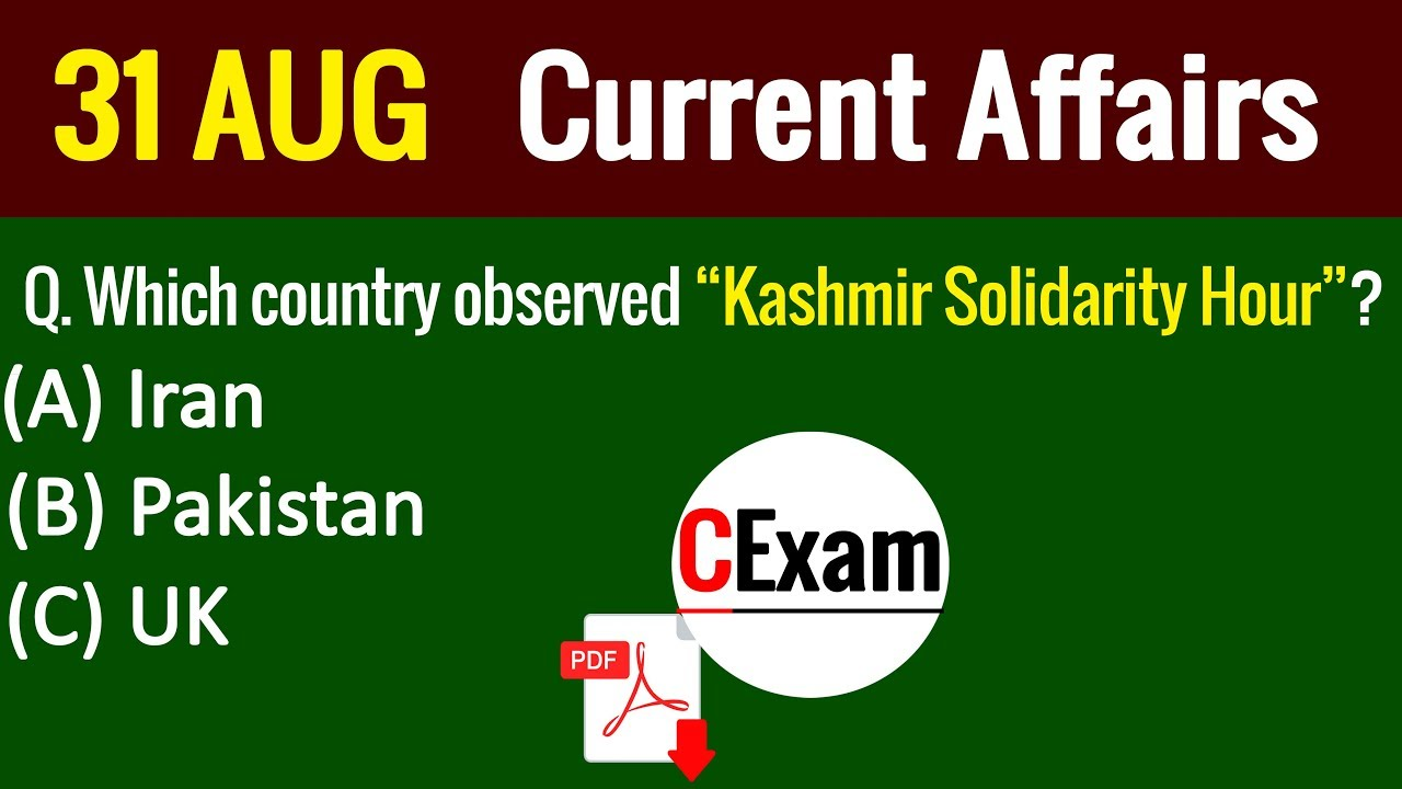 24 24 MB] Current Affairs Pakistan 31 August 2019 I in Hindi