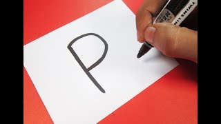 "How to turn Letter ""P"" into a Cartoon PENGUIN ! Learn drawing art on paper for kids"