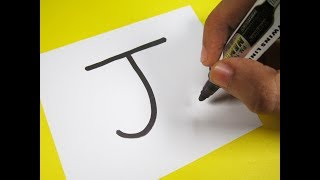 "How to turn Letter ""J"" into a Cartoon JELLYFISH ! Fun with Alphabets Drawing for kids"