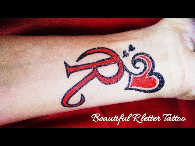 Beautiful R Letter Tattoo With Love Heart Youtube