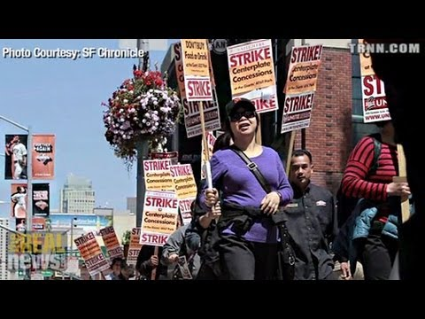 SF Giants Stadium Workers Protest For Fair Compensation