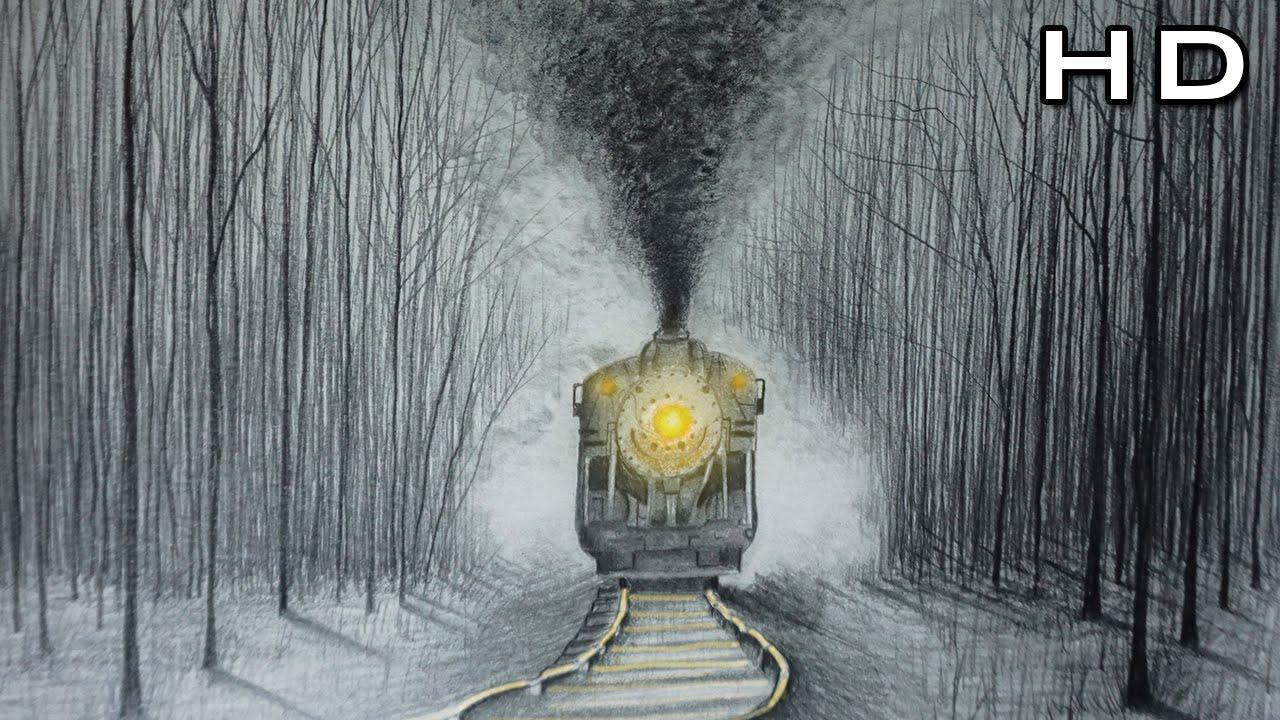 Cómo Dibujar Un Tren Realista Y Humo A Lápiz Paso A Paso Tutorial