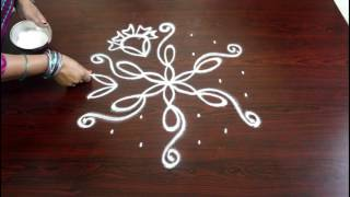 Video kolam with 7 to 4 interlaced dots- chukkala muggulu designs with dots-easy rangoli designs with dots download MP3, 3GP, MP4, WEBM, AVI, FLV April 2018