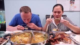 Vlog 207 ll Dụ Chồng Mỹ Ăn Lẩu Dê Hàn Quốc Và Cái Kêts