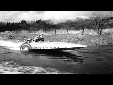 Boat racing skippers participate in the Sammamish Slough Outboard Classic at Lake...HD Stock Footage