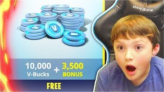 Surprising My Little Brother With 10,000 V-Bucks In Fortnite! (Fortnite Battle Royale Free Update)