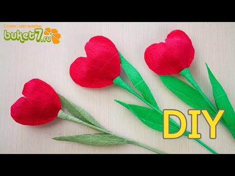 Тюльпан - сердце из гофрированной бумаги ☆ Подарки на 14 февраля ☆ Валентинка своими руками ☆ Diy - Видео приколы смотреть