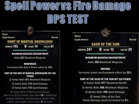 Martial Knowledge vs Silks of the Sun DPS Test for the Elder Scrolls Online