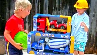 Toy Truck Videos for Children - Toy Bruder Mack Cement Mixer and MB Actros Tow Truck with Jeep