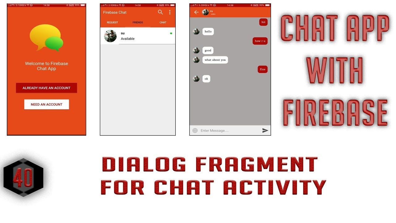 Dialog Fragment for Chat Activity #40 Android Firebase Chat App in Hindi/Urdu
