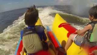 Glenda and the boys on banana boat Myrtle Beach, SC, July 16, 2013