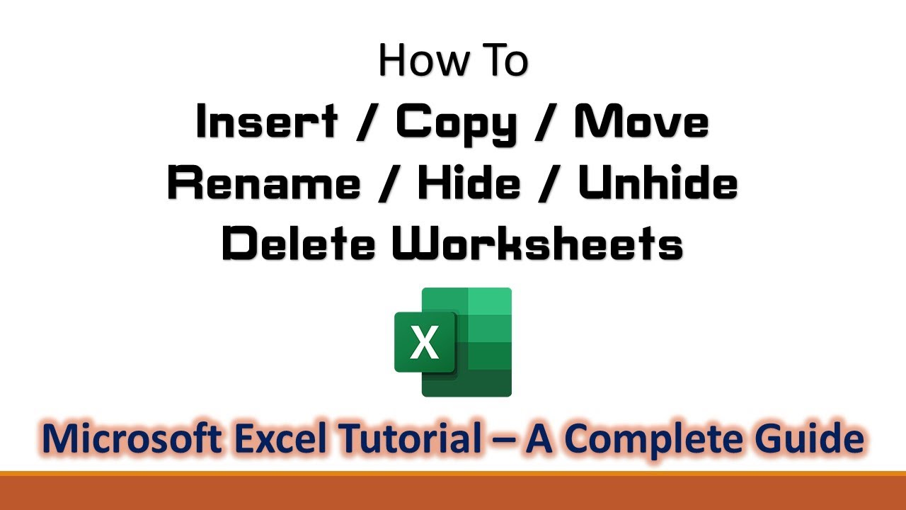 How to Insert Rename Move Copy Delete Hide and Unhide – Unhide Worksheet Excel 2010