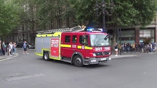 London Fire Brigade (F331) - Pump Ladder - Mercedes Atego - On shout in Trafalgar Sq.