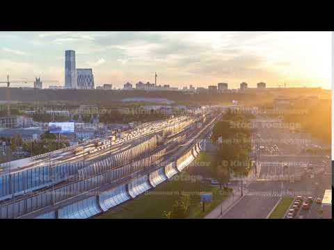 The Third Ring Road at sunset timelapse aerial view from rooftop. Moscow, Russia