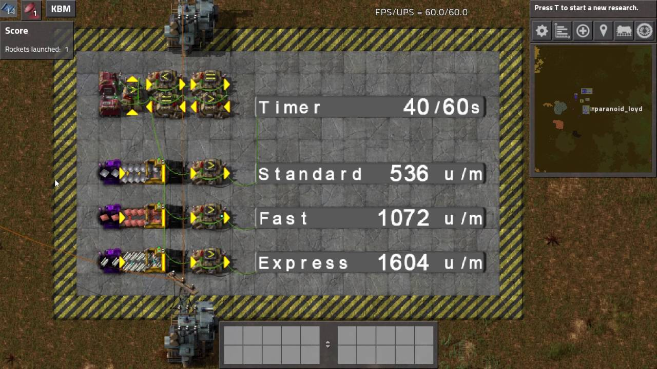 Factorio - Compact Belt Throughput Test