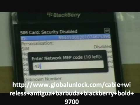Cable and Wireless Antigua & Barbuda Blackberry Bold 9700 Unlock Instructions