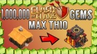 1,000,000 GEMS!!! $7,000 WORTH! - GEMMING FROM TH1 TO MAX TH10!!! + Base Build! | Clash of Clans