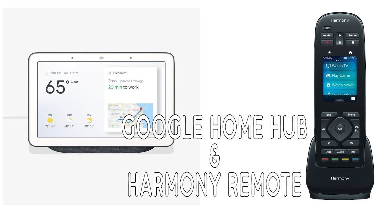 Google Home Hub and Logitech Harmony Remote Control