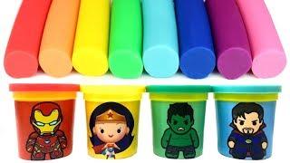 Marvel Avengers Chibi Play-Doh Funko Pop Toys Iron Man Hulk Doctor Strange Wonder Woman Learn Colors
