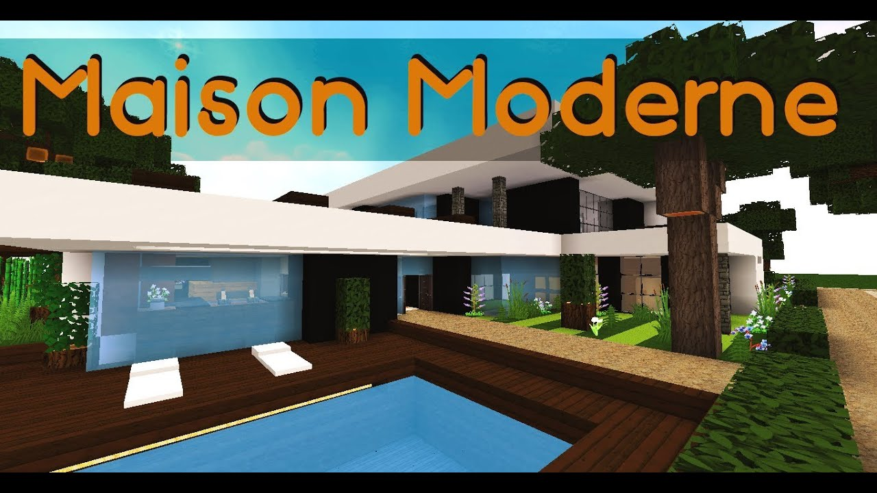Minecraft maison moderne youtube for Plan maison minecraft moderne