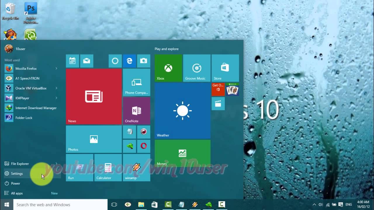 Kantindstillinger windows 10