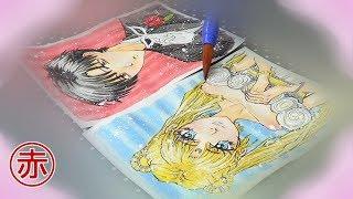 Drawing Sailor Moon & Tuxedo Mask | speedpaint