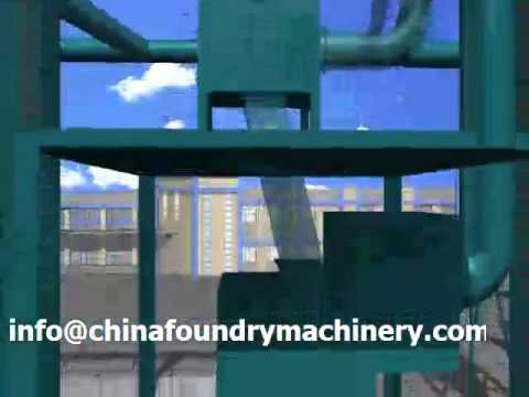 Ruvii resin sand reclamation production line working animation in Foundry