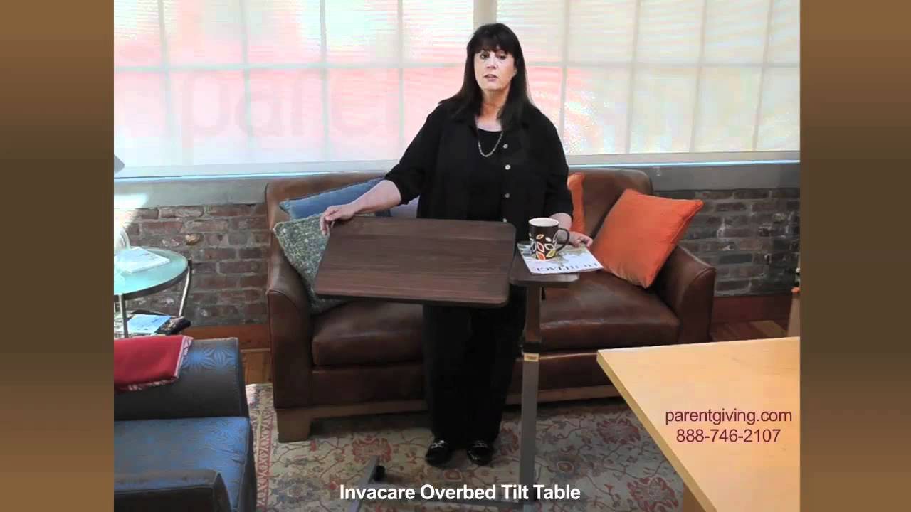 Split top overbed table - Invacare Overbed Tilt Table Unv09396