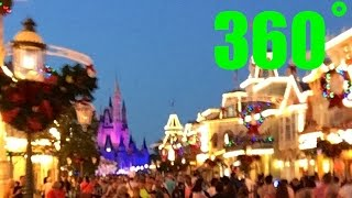Magic Kingdom Christmas INTERACTIVE Mainstreet 360˚ VR Walk around HD Walt Disney World