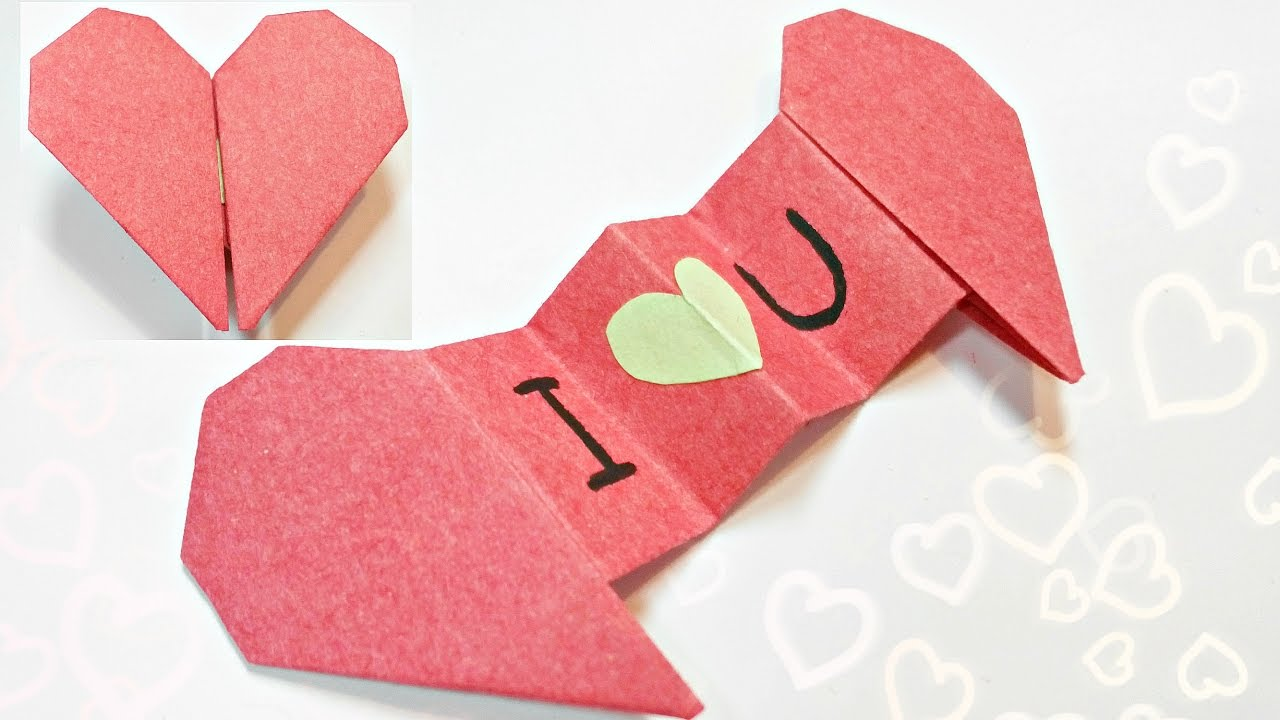 Diy 3d Origami Valentine Heart Envelope Love Secret Message For Beginners Valentines Day Card Gift