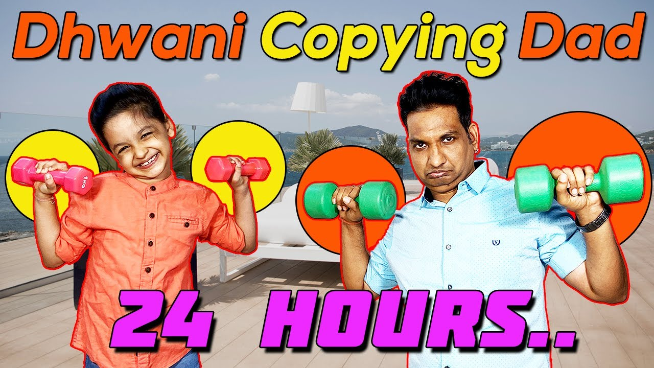 Dhwani Copying Dad for 24 Hours Challenge 🤣🤣 and more fun activities | Cute Sisters