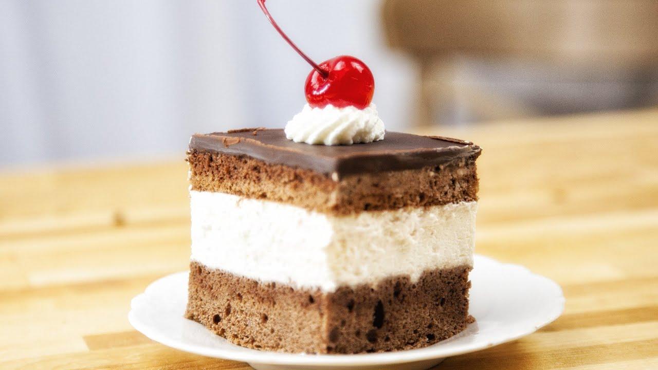 Chocolate And Cream Cake Wuzetka Recipe 100 Youtube