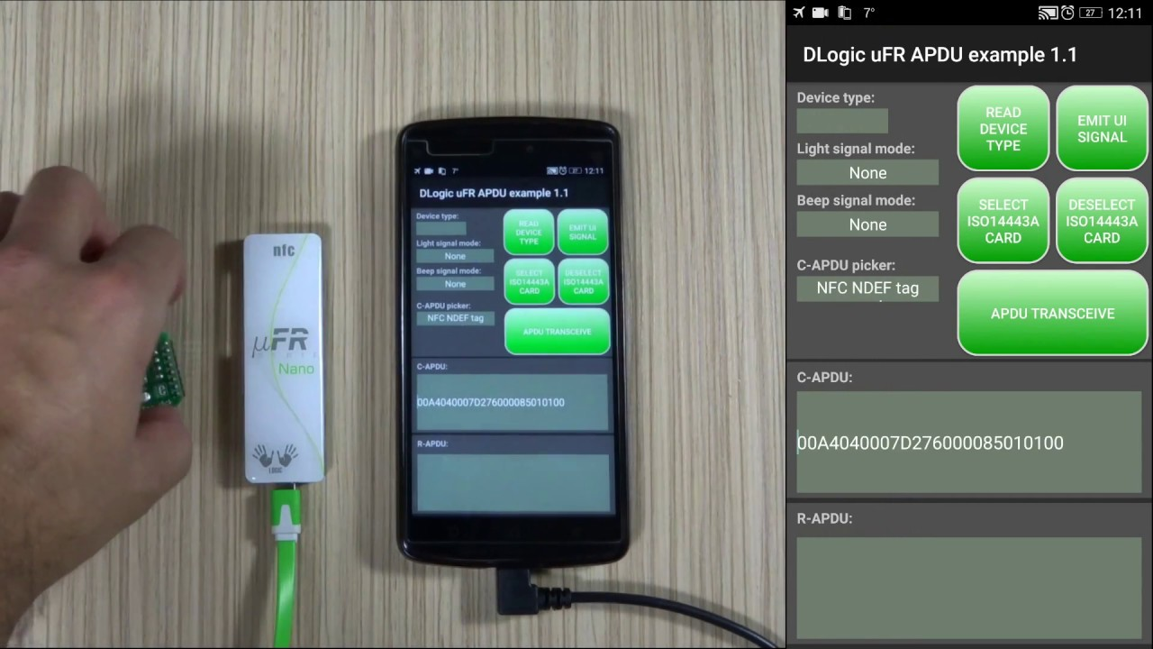 APDU software with SDK for NFC Reader uFR Nano running on Android phone