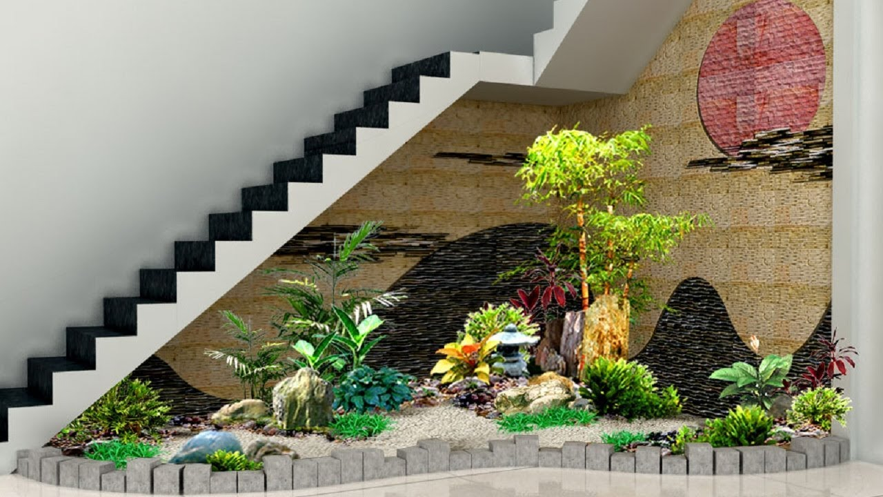 30 amazing small garden designs under staircase