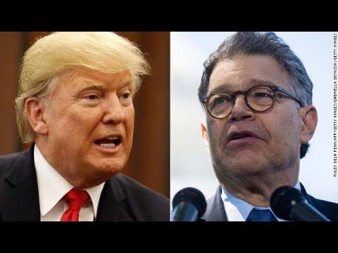 Trump blasts Franken, silent on Moore