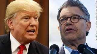 Trump blasts Franken, silent on Moore