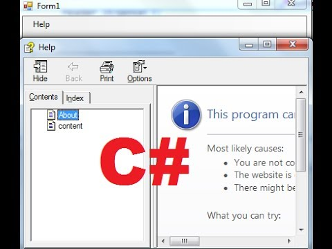 C# Tutorial 95: How to open and use CHM (Compiled HTML Help) help file in C#