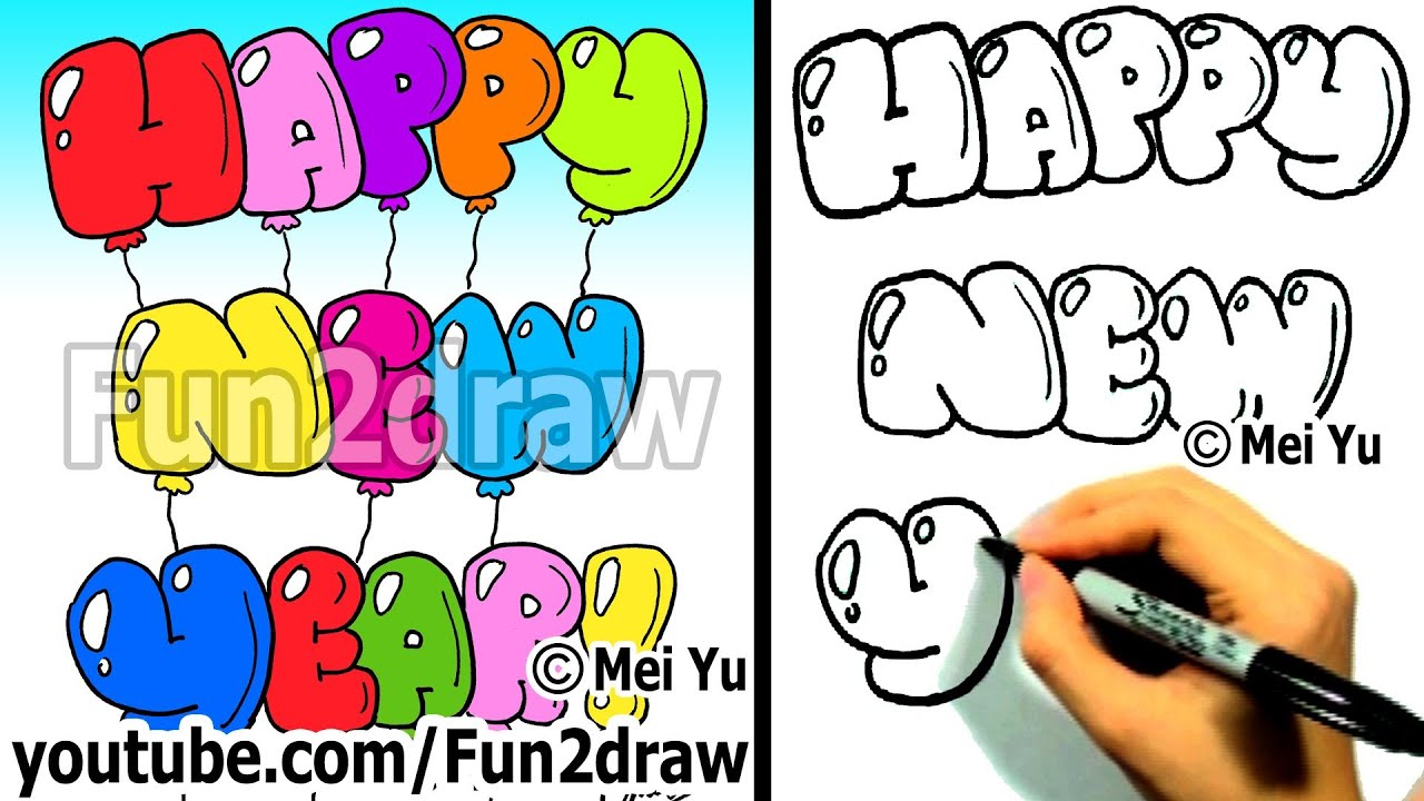 How To Draw HAPPY NEW YEAR Bubble Letters