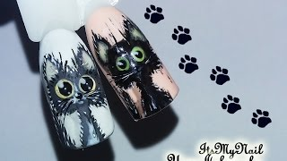 🐱Черный кот 'Уголек'🐱Дизайн ногтей гель лаком🐱Nail Design Shellac🐱