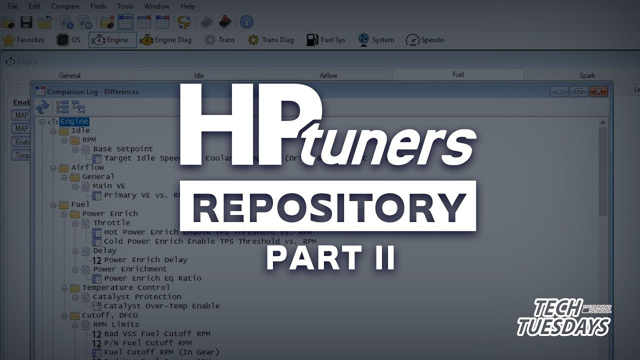 How to use compare feature in HP Tuners VCM Editor 4 x after getting file  from repository (Part 2)