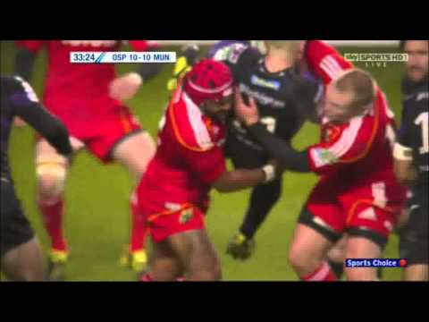 Sam Tuitupou and Keith Earls chokeslam Richard Fussell