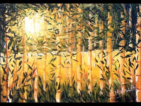 Bamboo Trees – Acrylic Painting tutorial | How to paint a landscape with Acrylics