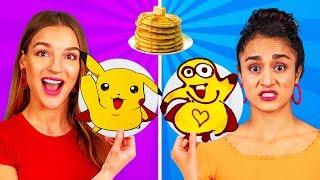 TANTANGAN SENI PANCAKE! Cara Membuat Pancake Emoji, Spongebob, dan Pikachu!